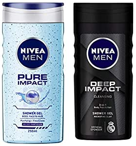 NIVEA MEN Hair, Face & Body Wash, Pure Impact Shower Gel, 250ml & MEN Hair, Face & Body Wash, Deep Impact Intense Clean Shower Gel, 250ml Combo