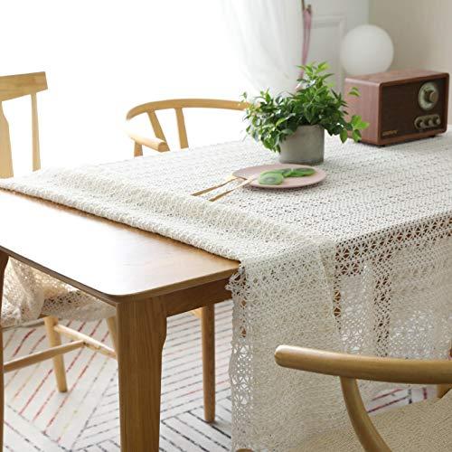 Tovaglia lavabile a prova di tavolo - tovaglia da giardino in cotone lavorato all'uncinetto all'uncinetto, 150x200cm, ideale per la cena al coperto e all'aperto picnic home decoration tavolo da pranzo top