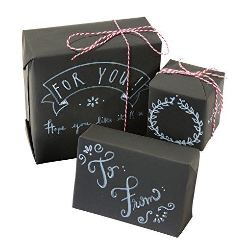 Talking Tables Geschenkpapier-Kit mit Kreidetafel-Oberfläche, für Feiertage oder Geburtstag, Schwarz