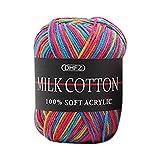 Prevently Strickgarn Gradienten Milch Baumwollgarn Chunky Bunte Hand Stricken häkeln Milch Weichen Baby Baumwolle Wolle Garn (Colour E)