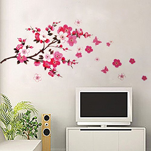 pink-blossom-plum-flowers-butterfly-wall-stickers-gome-decoration-mural-decal-art-big-size