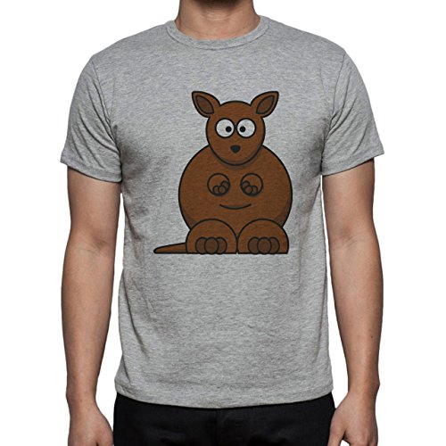 Kangaroo Cartoon Brown Sitting Interesting Herren T-Shirt Grau