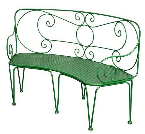 Casa Padrino Schmiedeeisen Gartenbank - verschiedene Farben - 1,4 x 0,48 x H. 0,9m - Vintage Nostalgie, Farbe:grau
