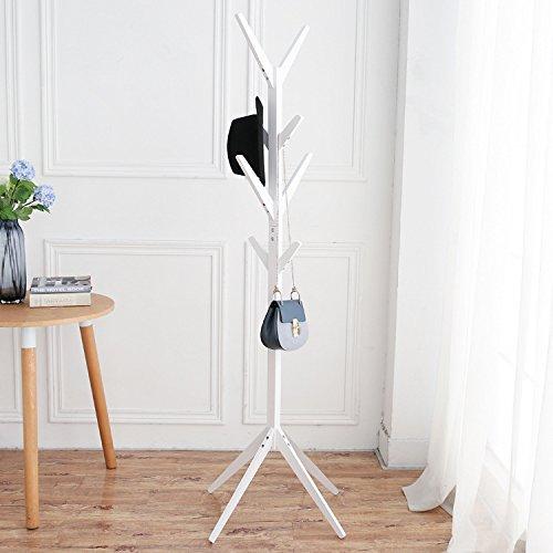 YLHM Einfach Baum geformte Massive Holz Garderobe Kleiderständer Kleiderbügel Kleiderbügel Landing A Tree - Shaped White Coat - Tree Coat