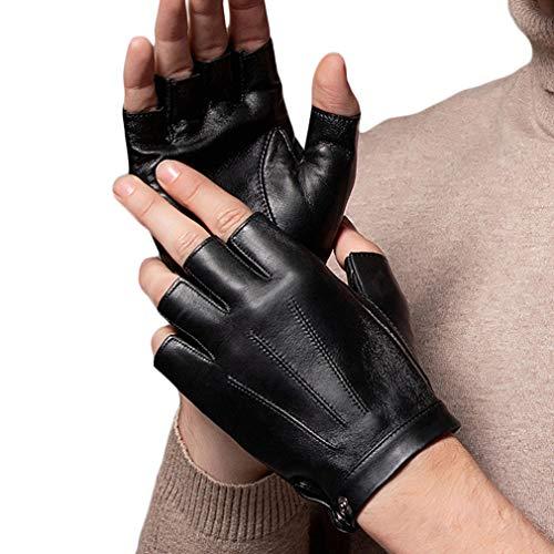 guanti pelle mezze dita WEPOP Guanti Senza Dita Guanto Guida PU Ecopelle Mezza Finger per Moto Ciclismo Arrampicata Palestra All aperto Sport Uomini Donne Adolescenti (nero1