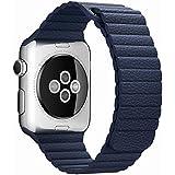 Simpeak Correa Reemplazo para Apple Watch 42mm Lazo de Cuero Genuino mit Correa de Bloqueo del Imán Reemplazo de Banda de la Muñeca para Apple Watch Todos los Modelos 42mm No Hebilla Needed