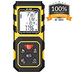Laser Measure Tilswall Laser Distance Meter 40m Digital Tape Measurement Tool Measuring Device with Upgraded Electronic Angle Sensor, Larger Backlit Display 131ft Battery Included