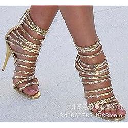 High Heels Sandalen Luxus Strass Ribbons Bankett Schuhe High Heels Sandalen, Golden, Achtunddreißig