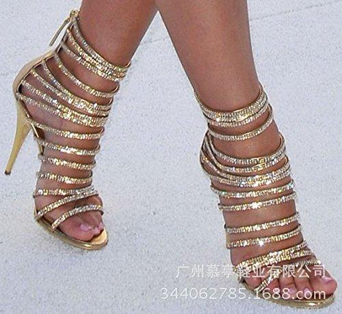 Tacchi alti sandali di lusso con strass Nastri banchetti scarpe tacchi alti sandali Golden
