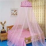 ACMEDE Rosa rund Lace Moskitonetz,Kuppel Bett Baldachin Mueckennetz Moskitonetz Fliegennetz Mückennetz (Rosa 2, Ca.70cmx290cm)