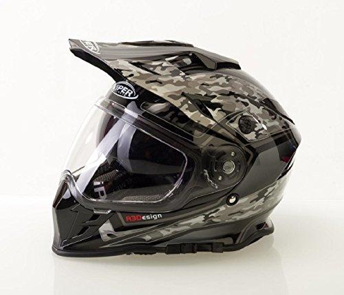 Caschi da motociclista ~ viper v288 mx casco moto scooter off road quad casco motocross sportivi racing, doppia visiera color- camo nero (m)