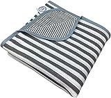 Larovita leichtes Strandtuch 180 x 90cm aus Baumwolle dünne Reisedecke ultraleichtes Badetuch Strand (grau-weiß)