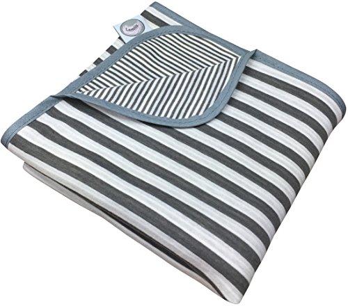 Larovita leichtes Strandtuch 180 x 90cm aus Baumwolle dünne Reisedecke ultraleichtes Badetuch Strand (grau-weiß) (Weiße Badelaken)