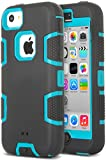 iPhone 5c Case, ULAK 3in1 Combo Hybrid Hard Rigid PC + Soft Silicone Protective Case Cover for Apple iPhone 5C with Clear Screen Protector (Mint Blue + Black)
