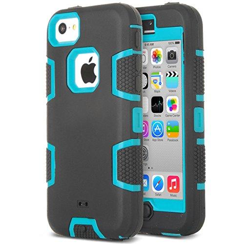 ULAK Coque iPhone 5c, iPhone 5c Coque Housse Étui Hybride Couche 3 en Silicone et PC Rigide Anti chocs & Absorption des Chocs dur Coque pour Apple iPhone 5c (Bleu+Noir)