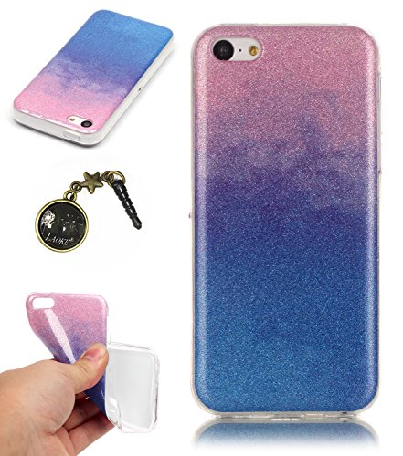 TPU Coque iPhone 5C, Bling Bling Gliter Sparkle Coque Paillette [ Ultra Mince ] Housse Etui Premium Coque pour Apple iPhone 5C +Bouchons de poussière (14RR) 7