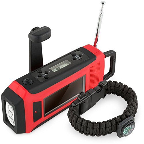 LED Solar Radio, Notfall-Handkurbel multifunktionale Notfallradio, AM/ FM/ NOAA dynamo radio eingebaute 2000mAh Powerbank (Am / Radio Fm Batterie)