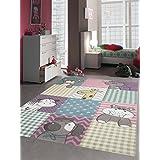 Niños alfombra alfombra alfombra de juegos de los niños lindos animales de colores con corte de contorno con el perro cebra de la jirafa hipopótamo Gato Oso en colores pastel rosa púrpura mostaza verde turquesa Gris Beige Color crema Größe 80x150 cm
