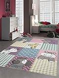 Kinderteppich Spielteppich Kinderzimmerteppich Tiere : Hund Giraffe Zebra Bär Katze Nilpferd in Pastellfarben, Größe 160x230 cm