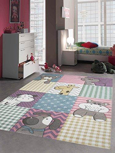 *Kinderteppich Spielteppich Kinderzimmerteppich Tiere : Hund Giraffe Zebra Bär Katze Nilpferd in Pastellfarben, Größe 80×150 cm*