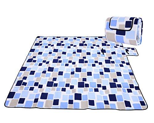 Honeystore Flanell Wasserdichte Yoga Matte Strand Ausflug Picknickdecke Mit Tragegriff 200*200 CM Blau Karo