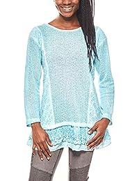 Linea TESINI angesagtes Damen Pailletten Spitzen-Shirt Langarm-Shirt Trend- Shirt Blau 44b01959a6