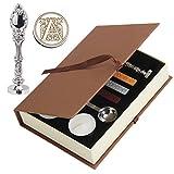 Cachet de cire, Puqu vintage Initiale lettres Poignée en métal cachet de cire badge enveloppe Cadeau de kit A Silver