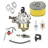 Oxoxo Carburateur Bougie d'allumage filtre à carburant filtre à air pour Honda Gx340Gx39011hp 13hp Moteur pour tondeuse à gazon
