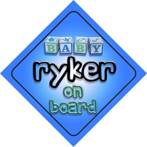 Ryker on board baby Boy auto a forma di cartello regalo per bambini e neonati