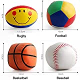 Omiky® 4PC Baby Cotton Soft Ball Fußball lächelnd Rugby gequetscht Eduactional Spielzeug (#B)