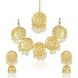 #8: Meenaz Fashion Jewellery Gold Plated Kundan Pearl Traditional Necklace set for women party wear wedding wear Maang Tikka Jewellery set Jhumki Earrings For Girls/Women- NL-241