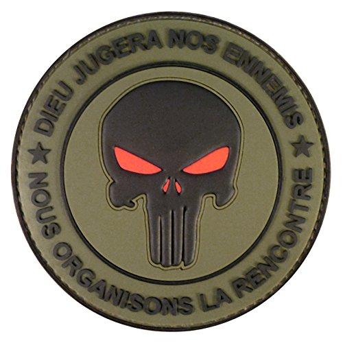 2AFTER1 Olive Drab OD Green Punisher DIEU JUGERA NOS ENNEMIS DEVGRU Morale PVC Hook&Loop Patch