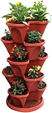 VGreen Stack A Pot Floor Set of 7 (6 Pot + 1 Bottom Tray) Brown Color