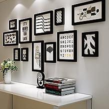 Global- 12 Conjunto de marcos múltiples de madera Blanco y negro Foto de bricolaje Cuadro Cuadro de pared Estilo moderno Gran pared colgante Marco de fotos ...