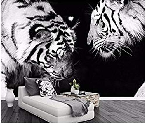WH-PORP Custom 3D tapete Black And White Tiger Tv Background Walls Animal Modern Minimalist Living Room-145 cm x 250 cm (Wandtattoo Tiger White)