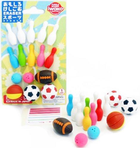 Iwako Sports Football, Basketball, Rugby Bowling Pins und Bälle japanischen Radiergummis Blister...