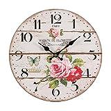 NOSTALGIE WANDUHR 'ROSE' | 28 cm, Rosenmuster antik| runde Landhausstil Uhr zum Aufhängen