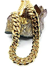 18ct Gold Cuban Link Chain Necklace for Men/Women Real 11MM 18K Karat Diamond Cut Heavy w Solid Thick Clasp Hip Hop