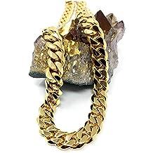 84f644b40e1a Collar de cadena de eslabones cubanos de oro de 18 quilates para hombres y  mujeres