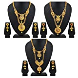#9: Asmitta Traditional Jalebi Design Gold Plated Set of 3 Matinee Necklace Set for Women