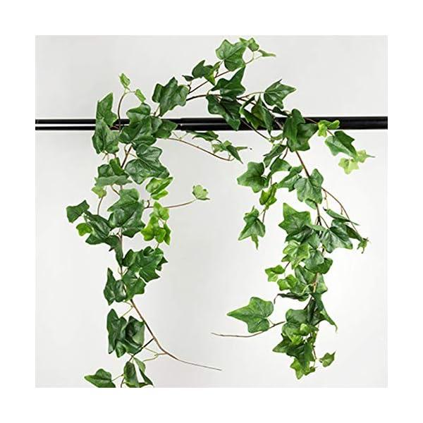 Aisamco Artificial Colgante Ivy Hojas Vines Ramitas Falso Seda de Seda Plantas Hojas Guirnalda Cuerda 5.7 pies en Verde…