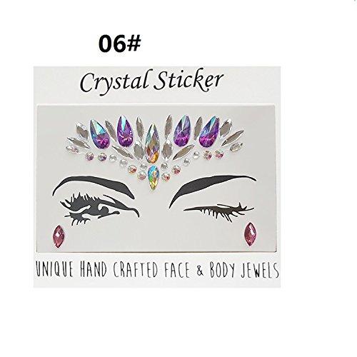Unbekannt Gesichtsaufkleber, Bindi-Kristalle, Glitzer, temporäre Tattoos, für Halloween, Geburtstag, Party, ()