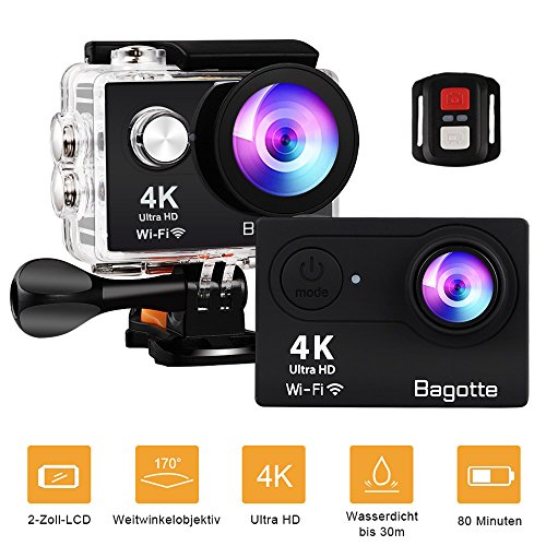 Sport Action Cam,Bagotte Action Camera 4K Ultra FHD 12MP 170° weiter Winkel Unterwasserkamera mit WiFi Fernbedienung Ausgabe,zum Schwimmen,Klettern,Tauchen (Schwarz)