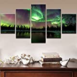 mmwin Decoración para el hogar Wall Art Canvas Poster For Living Room Imagen 5 Panel Green Forest Aurora Landscape Modern Oil