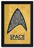 Northwest Art Mall Star Trek, Le Capitaine Kirk, l'espace: The Final Frontier Affiche encadrée par Stephen Poon. 12x18 / 14x20 inch