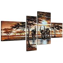 Elefante africano M5 348 - 4 Imagenes, aprox. 120x70, cuadros en lienzo, completamente pintado a mano