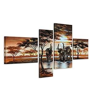 """Bilderdepot24 """"Eléphant Afrique M5"""" tableau peinture, sur toile, peint à la main, 120x70cm ensemble de 4 pièces 348"""