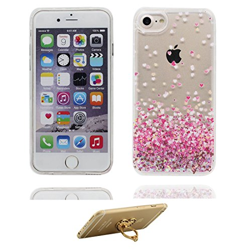"""iPhone 6S Coque, (Pink Heart) Skin Hard Clear étui iPhone 6 / 6S, Design Glitter Bling Sparkles Shinny Flowing iPhone 6 Case Shell 4.7"""",résistant aux chocs et ring Support # 1"""
