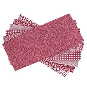 The Craft Cotton 18 x 22-Inch 6-Piece Fat Quarter Burgundy Wine and White Printed Fabric Bundle