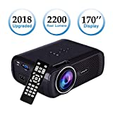 【2018 New Style】Proiettore Portatile,SINUK U80 2200 Lumens Video proiettore,Full HD 1080P LCD proiettore,Multimedia per Home Theater/Home Cinema Con TV/AV/VGA/USB/HDMI (Nero)